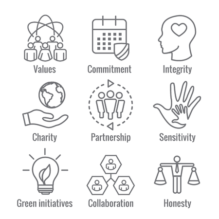 Social Responsibility Outline Icon Set with calendar, bulb and people with Honesty, integrity, 일러스트