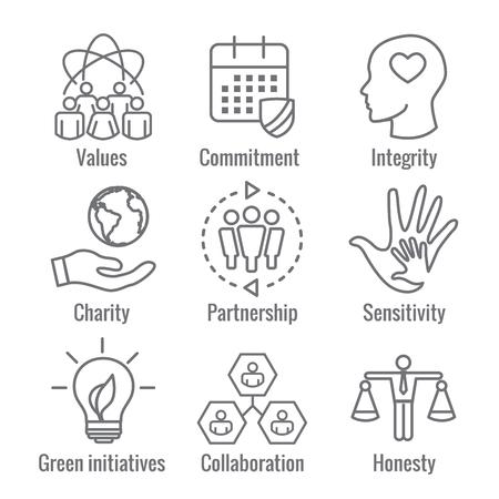 Overzicht sociale verantwoordelijkheid Icon Set met kalender, lamp en mensen met eerlijkheid, integriteit,