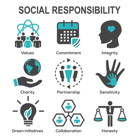 Sociale verantwoordelijkheid Solide Icon Set met eerlijkheid, integriteit, samenwerking, enz Stockfoto - 97387263