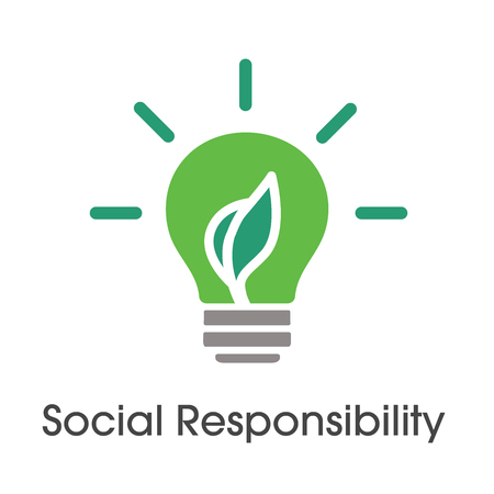 Social Responsibility Solid Icon Set with bulb and leaf Çizim