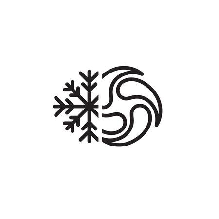 Bomb Cyclone icon w cyclone, tornado, and noreaster snowflake  Vectores