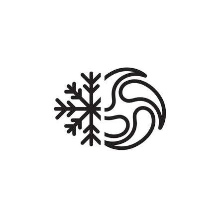 Bomb Cyclone icon w cyclone, tornado, and noreaster snowflake  Illustration