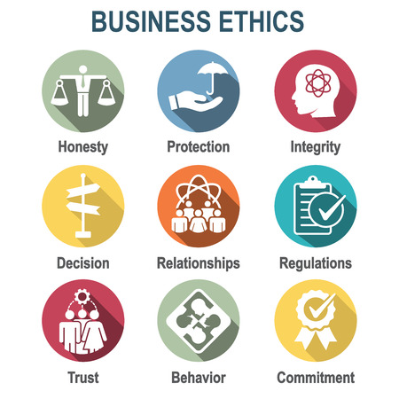 Business Ethics Solid Icon Set with Honesty isolated on plain background