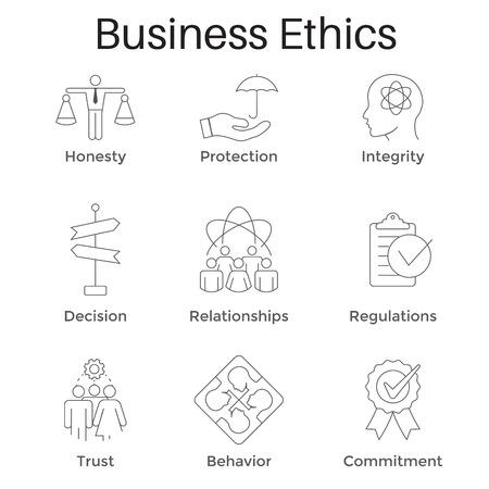 Ensemble d'icônes de contour éthique des affaires avec honnêteté isolé sur fond uni