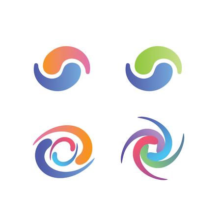 Simboli Yin e Yang, con grafiche decorative swirly in colori pastello Vettoriali