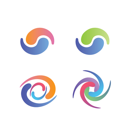Yin and Yang Symbols, w swirly decorative graphics in pastel colors Ilustração
