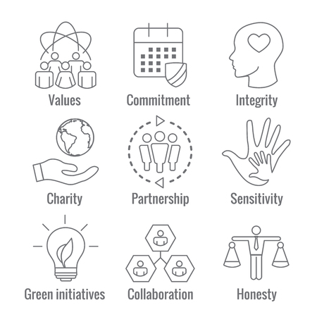 Social Responsibility Outline Icon Set with Honesty, integrity, & collaboration, etc Foto de archivo - 97858427