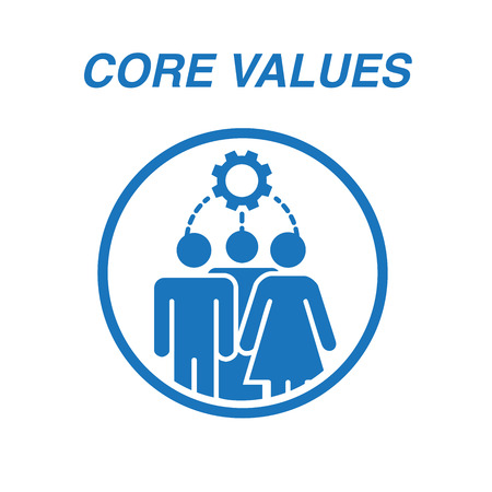 Core Values Outline Icon with person and collaborating / thinking ideas