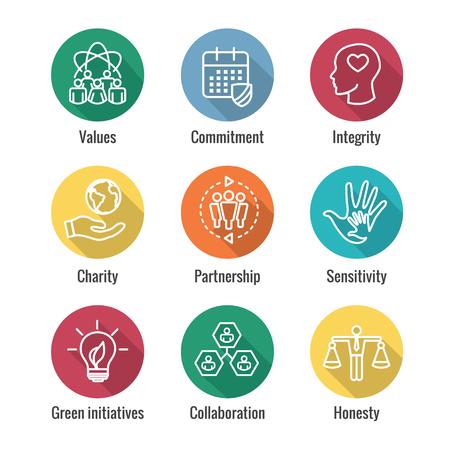 Conjunto de iconos de esquema de responsabilidad social con honestidad, integridad y colaboración, etc. Ilustración de vector