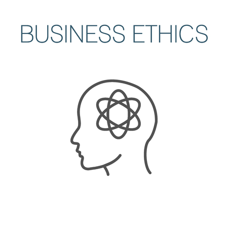 Business Ethics Solid Icon w head & thinking brain