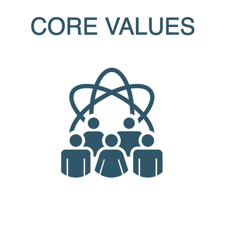 Core Values Solid Icon w person and collaborating / thinking ideas
