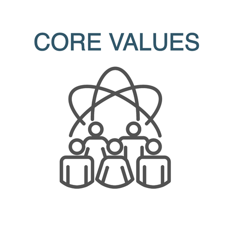 Core Values Outline Icon w person and collaborating  thinking ideas
