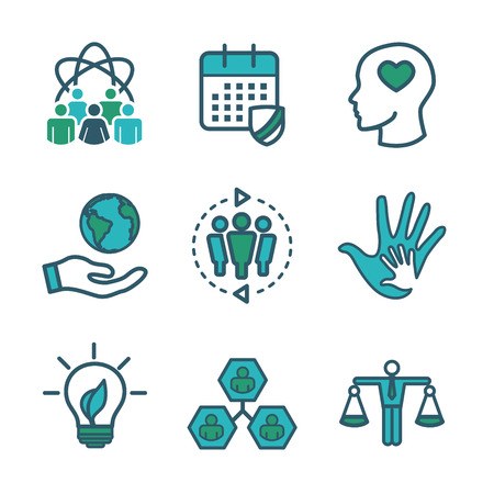 Social Responsibility Outline Icon Set with Honesty, integrity, & collaboration, etc