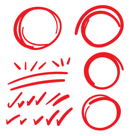 Red Teacher Grading Marks w Pen, showing correct or incorrect graded papers