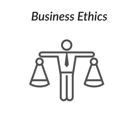 Business Ethics Solid Icon with Man and Scales of Justice Vector illustration.