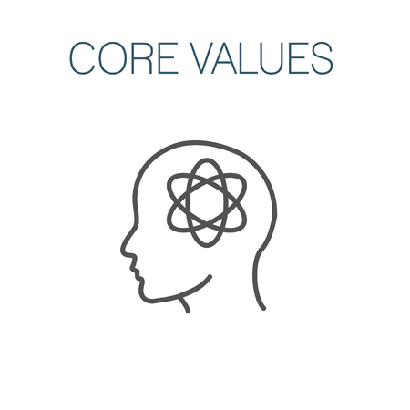 Core Values Outline Icon w person & collaborating  thinking ideas Ilustracja