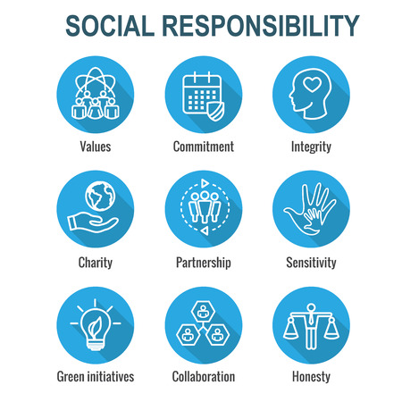 Social Responsibility Outline Icon Set with Honesty, integrity and collaboration, etc