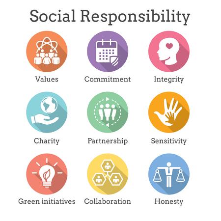 Solidny zestaw ikon odpowiedzialności społecznej z uczciwością, uczciwością, współpracą itp