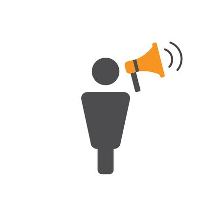 Woordvoerder-pictogram - persoon in marketingpositienetwerken en coördineert met anderen