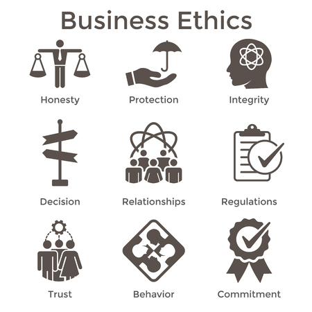Business Ethics Solid Icon Set with Honesty, Integrity, Commitment, & Decision Vetores