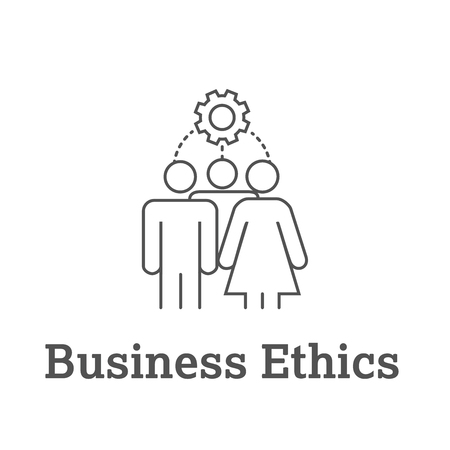 Business Ethics Solid Icon with people sharing ideas.