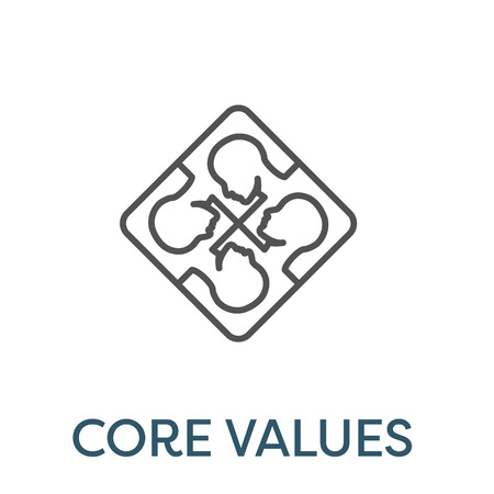 Core Values Outline Icon w person & collaborating  thinking ideas Çizim