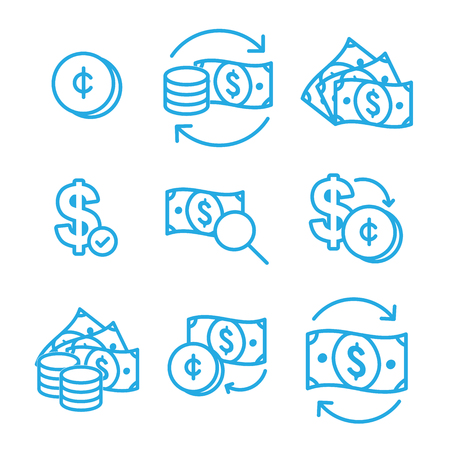 Currency Circulation or money exchange rate icon w dollar bill Ilustrace