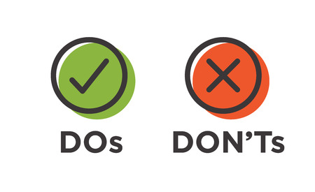 Do and Don't or Good and Bad Icons w Positive and Negative Symbols Vectores