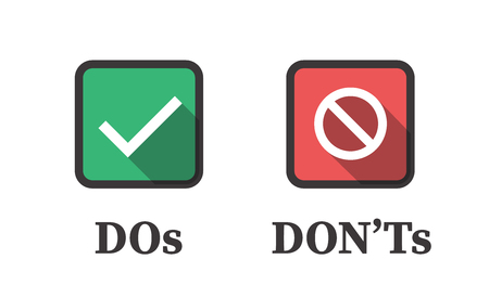 Do and Dont or Good and Bad Icons w Positive and Negative Symbols Illustration