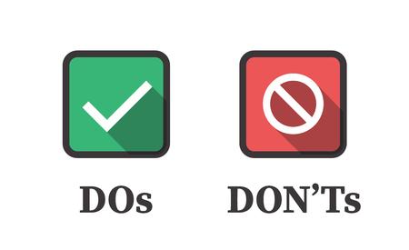 Tue und tue nicht oder gute und schlechte Symbole w Positive und negative Symbole Vektorgrafik