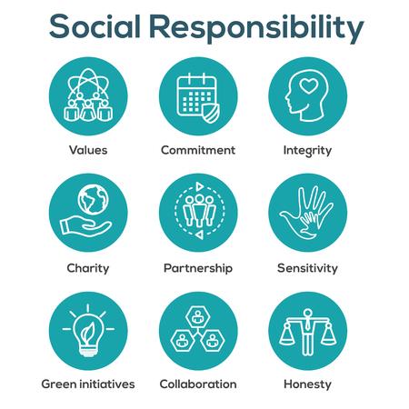 Ensemble d'icônes de contour de responsabilité sociale avec honnêteté, intégrité et collaboration, etc.