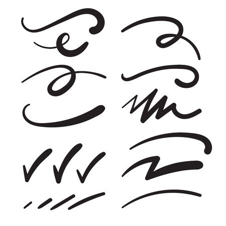 Swishes, Swashes, Swoops, Swooshes, Scribbles, & Squiggles for Typography Emphasis Vettoriali