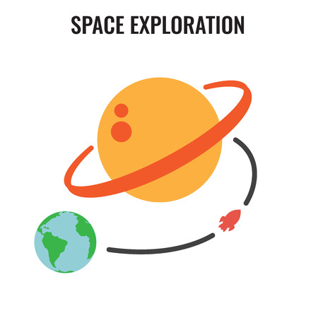Space Travel icon with Planets. Tourism to Outer Space concept. Exploration Astrotourism Vector illustration. Ilustrace