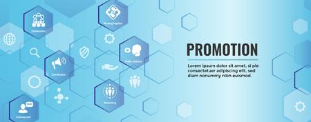 Spokesperson icon set - bullhorn, coordination, pr, public relations person set web banner header Vector illustration.