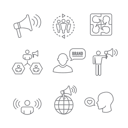 Spokesperson icon set   bullhorn, coordination, pr, public relations person set Vector illustration.