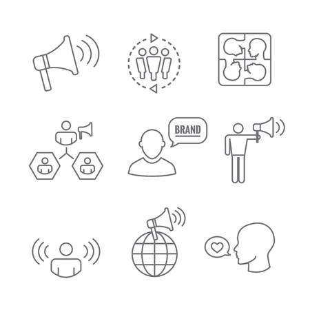 Woordvoerder icon set bullhorn, coördinatie, pr, public relations persoon instellen Vector illustratie.