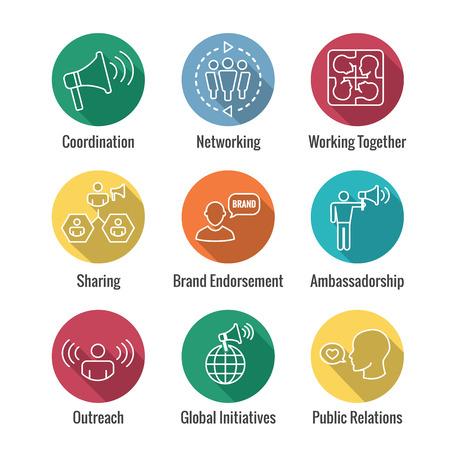 Spokesperson icon set  bullhorn, coordination, pr, public relations person set Vector illustration.