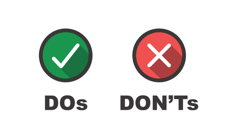 Do and Don't or Good and Bad Icons  Positive and Negative Symbols Vector illustration. Vectores