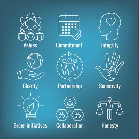 Conjunto de iconos de esquema de responsabilidad social con honestidad, integridad y colaboración, etc.