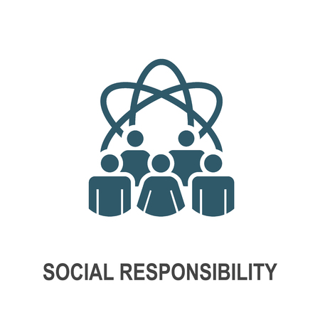 Social Responsibility Solid Icon Set with Honesty, integrity, collaboration, Vector illustration. Banco de Imagens - 99748627