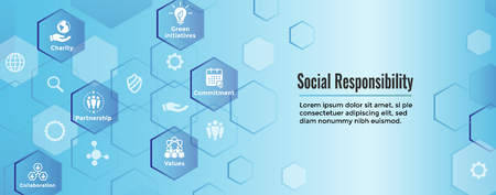 Social Responsibility Solid Icon Set with Honesty, integrity, collaboration, Web banner header Vector illustration.