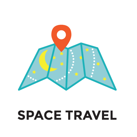 Space Travel icon w Galactic Map - Tourism to Outer Space Illustration