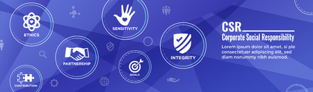 Social Responsibility Header Web Banner w Honesty, integrity, collaboration, Web banner header Ilustração