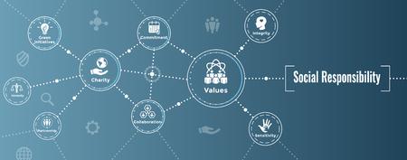 Solido set di icone di responsabilità sociale con onestà, integrità, collaborazione, intestazione banner Web Vettoriali