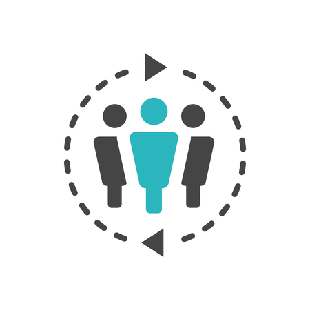 Spokesperson icon - person in marketing position networks and coordinates with others Vector illustration.