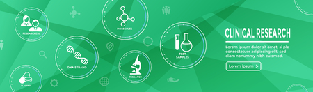 Medical Healthcare Icons w People Charting Disease or Scientific Discovery Web Header Banner Vector illustration.