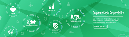 CSR - Corporate social responsibility web banner with Icon Set w Honesty, integrity, collaboration, etc