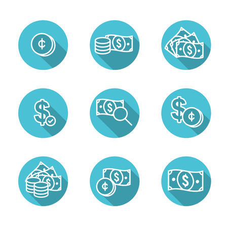 Currency Circulation or money exchange rate icon  dollar bill Vector illustration. Ilustrace