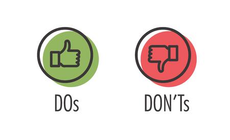 Fare e non fare o Mi piace e a differenza di icone con simboli positivi e negativi