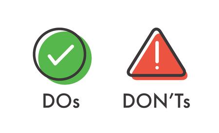 Do and Don't oder gute und schlechte Symbole mit positiven und negativen Symbolen